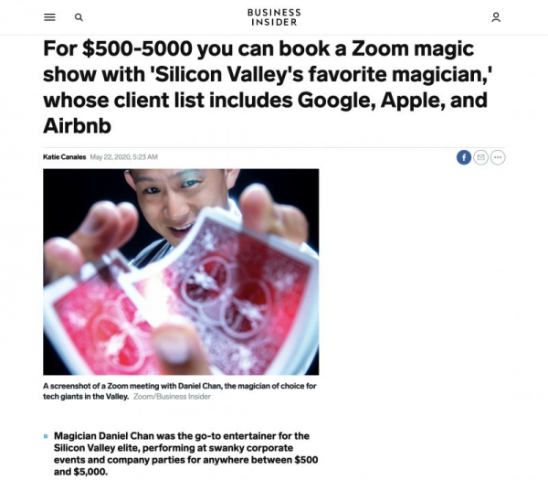 Featured on Business Insider for being a pioneer in Zoom magic