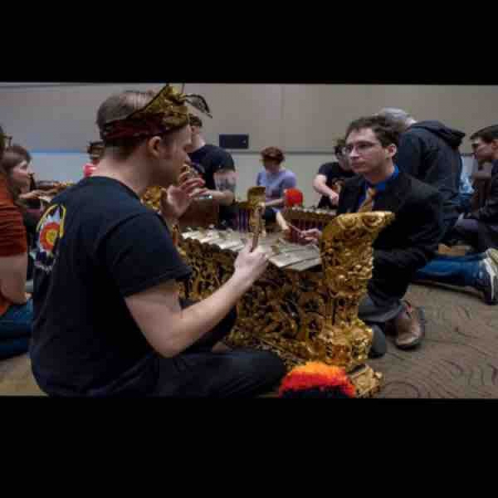 Teaching with the Chicago Balinese Gamelan how to play the gangsa at the 2020 Illinois Music Educator's Conference
