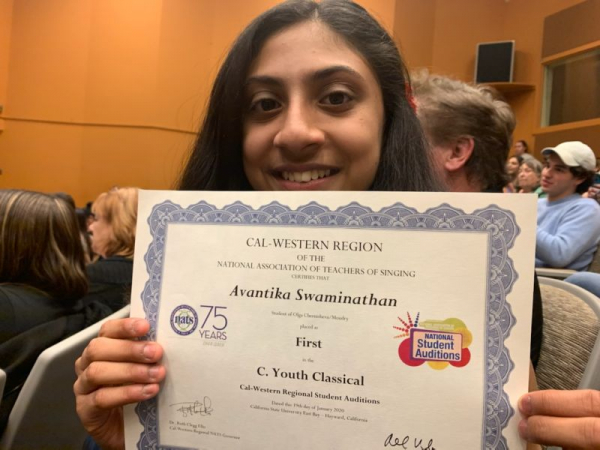 Avantika won 1st place at NATS competition - National Association of Teachers of Singing.