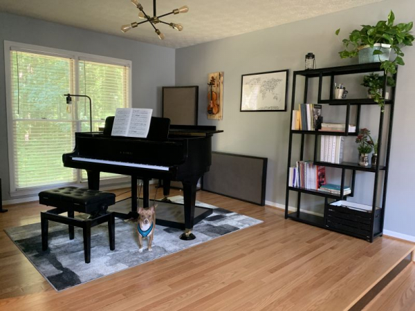 My real piano studio... and my dog Koda, who even posed for the pic 😅😂