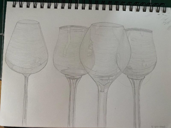 Student Project: The study of wine glasses using pencils, and graphite pencils.