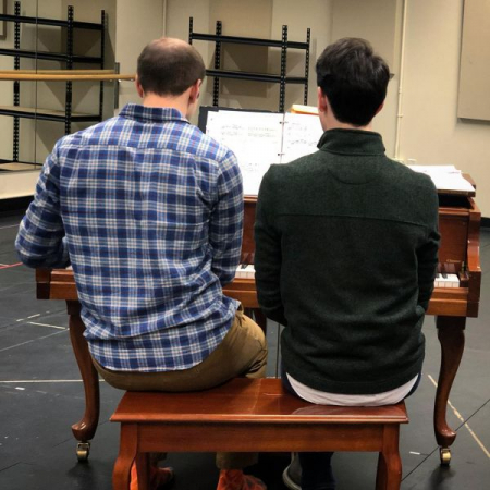 In rehearsal for MURDER FOR TWO