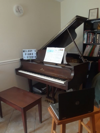 my piano studio, set up for online lessons, 2020