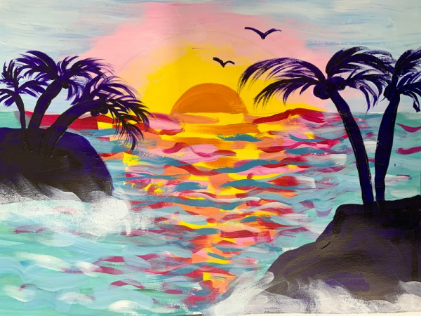 """Online Paint-a-long with a young family of 5 for a fun, tropical """"Staycation"""" activity!"""
