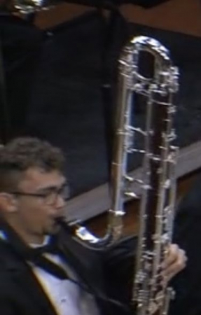 Josh playing ContraBass clarinet with the Wind Symphony, September 2019.