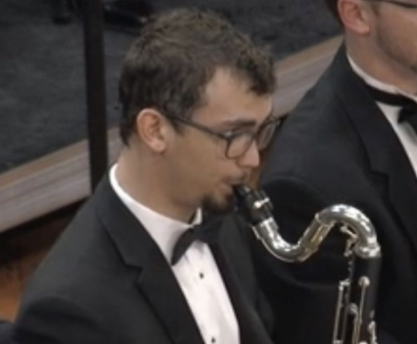 Josh playing Bass Clarinet with the UNT Wind Symphony, November 2019.