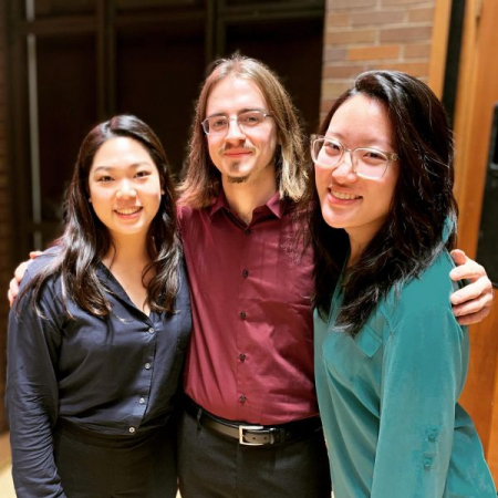 With hornist Hsin-Yu Lin and flutist Jessica Wu after premiere of one of my pieces, which I also performed in.