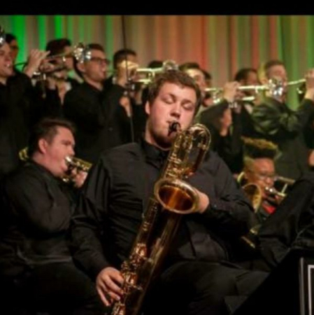 Here I am playing Bari sax in the university's jazz band in front of thousands of people during our Christmas concert.