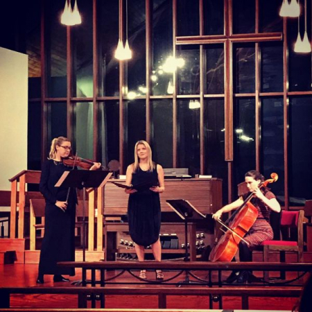 Performing new music for soprano, violin and cello on a concert series in Princeton, NJ.
