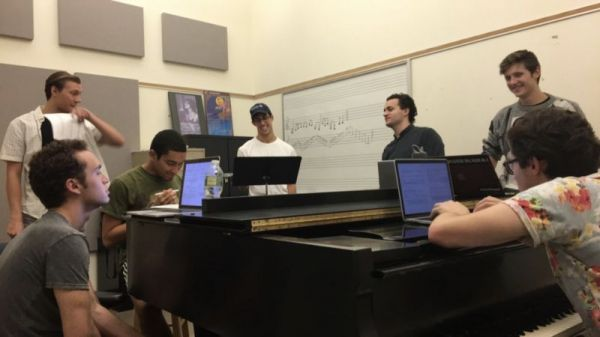 Working with singers on music for a new musical.