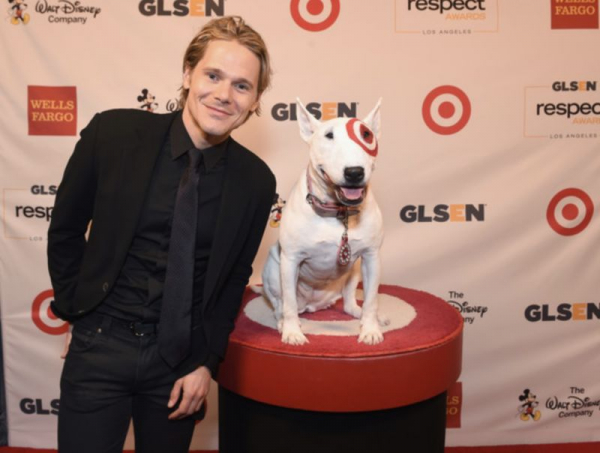 Meeting the Target dog at an event.
