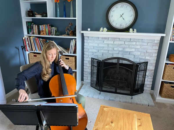 Teaching cello in my home studio