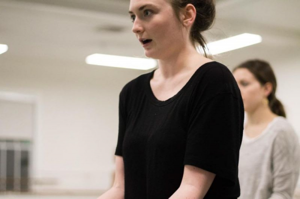 """A shot of me teaching my choreography to a lovely dancer, Maia. From my piece, """"Peak,"""" 2018."""