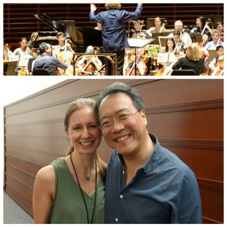 I coach chamber ensembles and offer tutoring for young cellists, but despite what this photo with Yo-Yo Ma suggests, I am NOT a cellist!