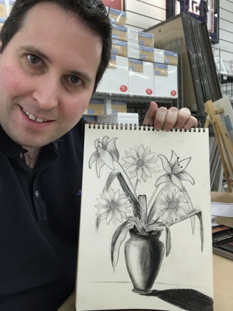 Floral Pencil Drawing for Instruction