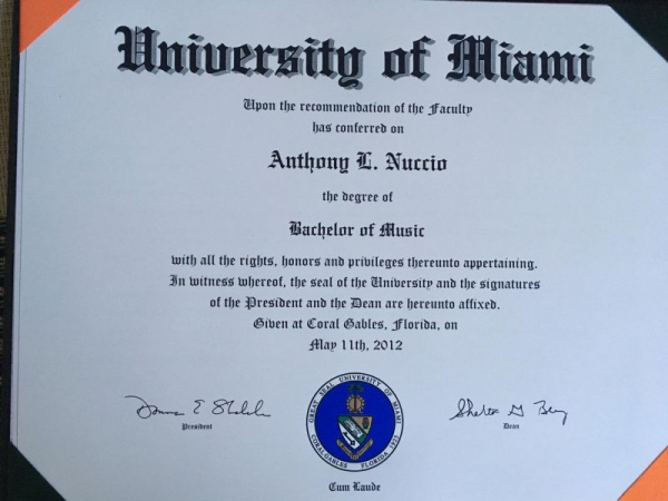 Bachelor of Music in Music Education from the University of Miami