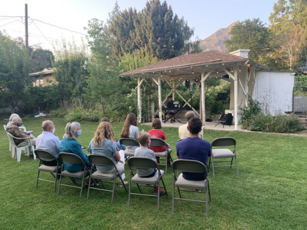 Audience members at our socially distant outdoor concert August 2020.