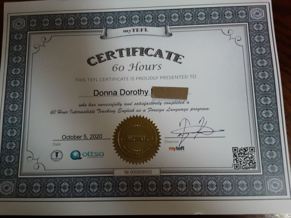 My TEFL certificate for teaching English as a foreign language.