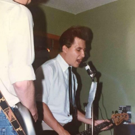 Laying down the low end on a 1975 Fender Musicmaster bass.  Photo taken 1984.