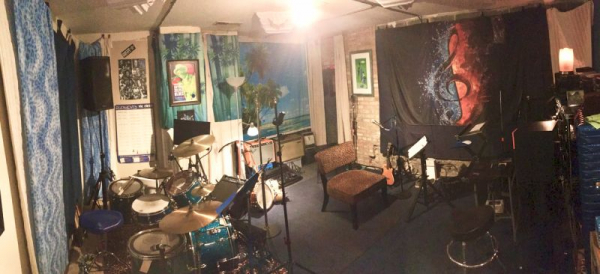 Drumkit and recording room for lessons (at the Blue Leopard Lair Music Studio)