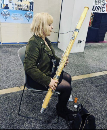 Trying out Moosmann bassoons at NAMM 2020.
