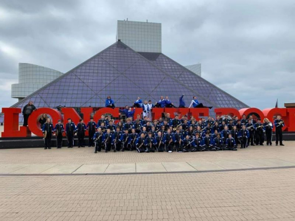 Falcon Marching Band performing at the Rock and Roll Hall of Fame