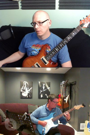 Chris jamming out some Pink Floyd tunes in his music room