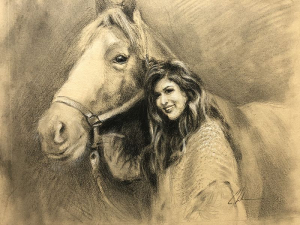 Instructor work, private commission, charcoal on toned paper, 11x14