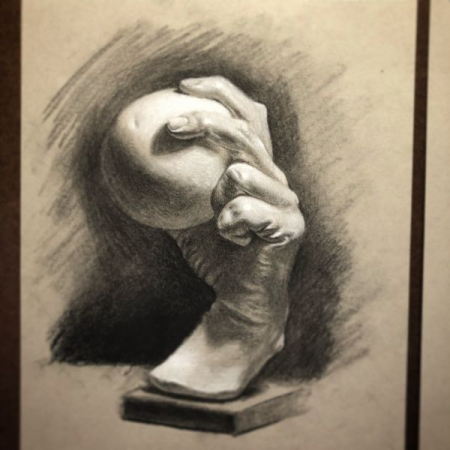Instructor work, class example, charcoal on toned paper