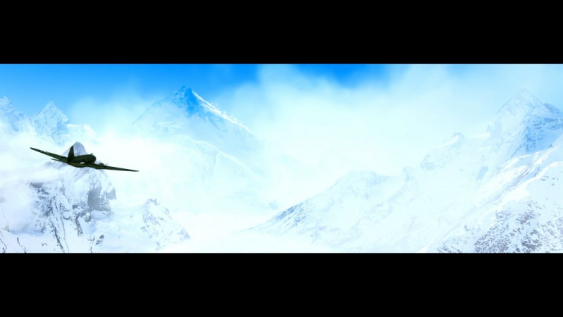 3D rendering of WWII cargo plane flying through the Himalayas