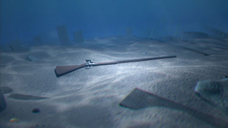 3d rendering showing underwater decay of musket following shipwreck