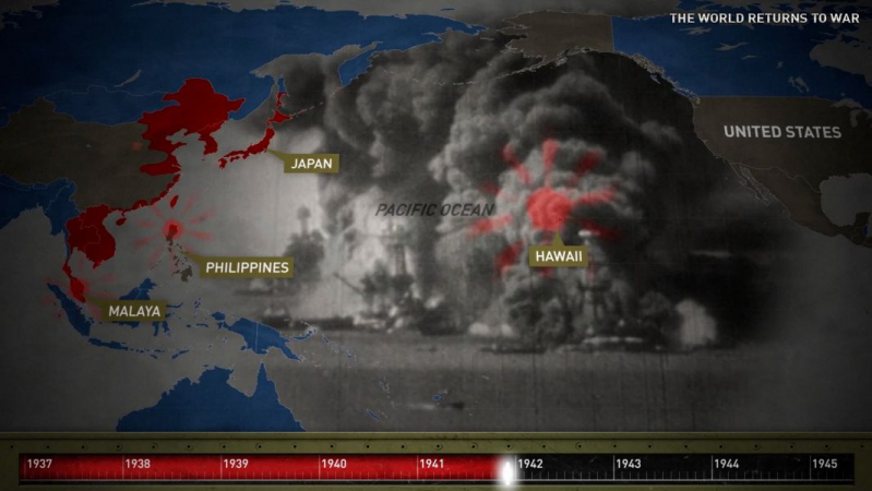 WWII map animation integrating a timeline and embedded imagery