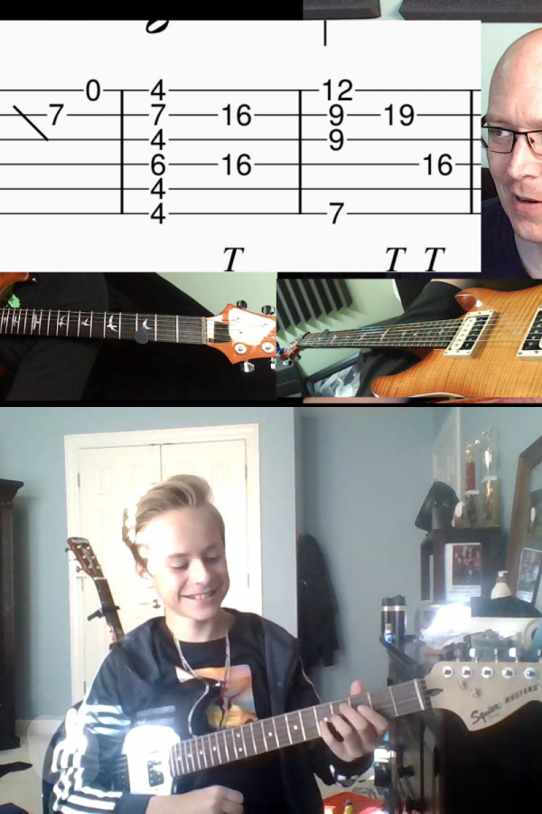 Dylan and I working on right-handed finger tapping