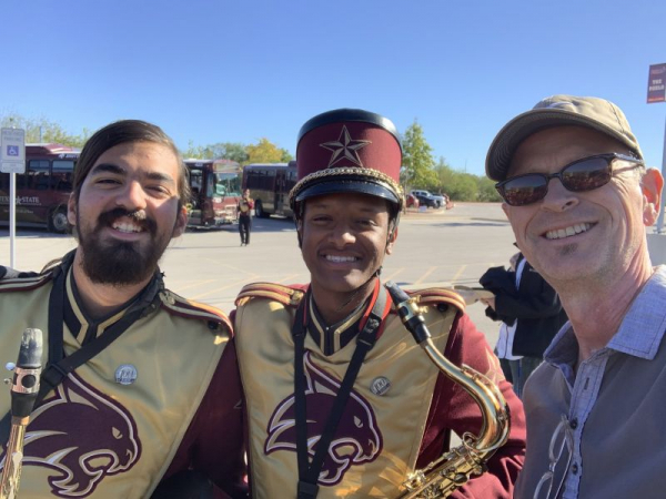 Fun afternoon with saxophone students at marching event.