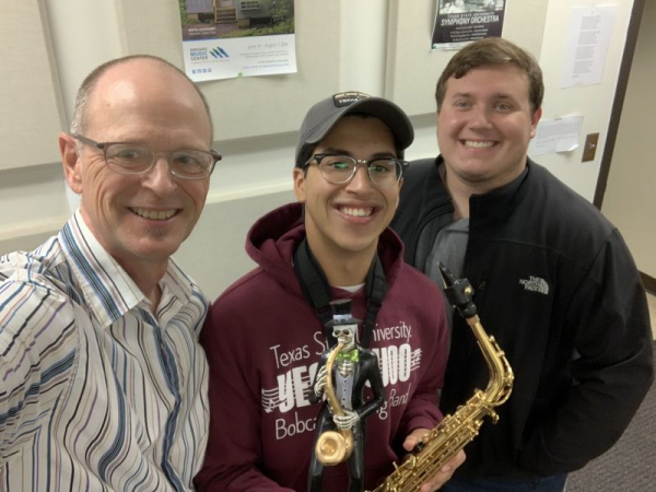 "Fun in the saxophone studio with ""Our Little Saxophone Friend"" during Halloween."