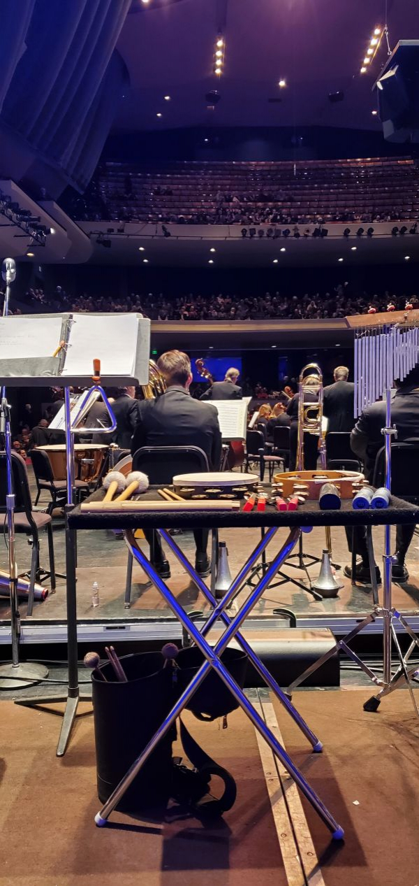 Here's Sean's view getting warmed up to play with the Colorado Springs Philharmonic.