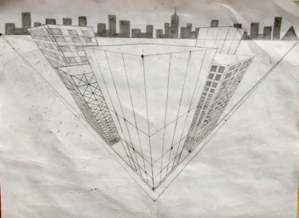 Student work (14 y.o.) Drawing, graphite on paper Perspective exercise