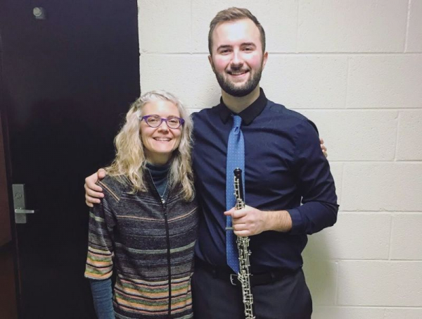 Myself and my oboe teacher, Dr. Anna Hendrickson, after my hour recital during my undergrad at SUNY Potsdam.