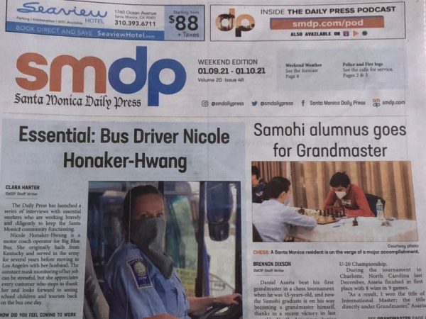 Santa Monica Daily Press Article about my journey to Grandmaster during COVID