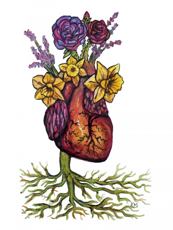"""""""Floral Heart,"""" Natural home-made pigments on paper, 2020"""