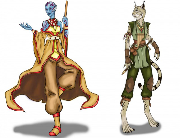 Original Vedalken and Tabaxi Characters for D&D, Adobe Photoshop, 2020