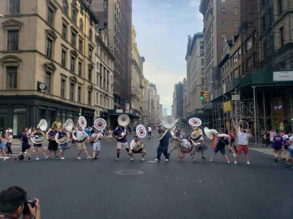 Large parade event in NYC, this is all the sousaphones who came out to play.