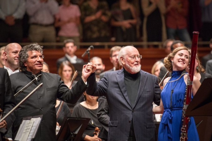 "With John Williams, after performing Bassoon Concerto ""Five Sacred Trees"""