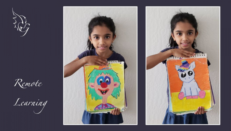 Artist in the making, Archita, with her colorful drawings. photo courtesy: Kavitha Palanisamy