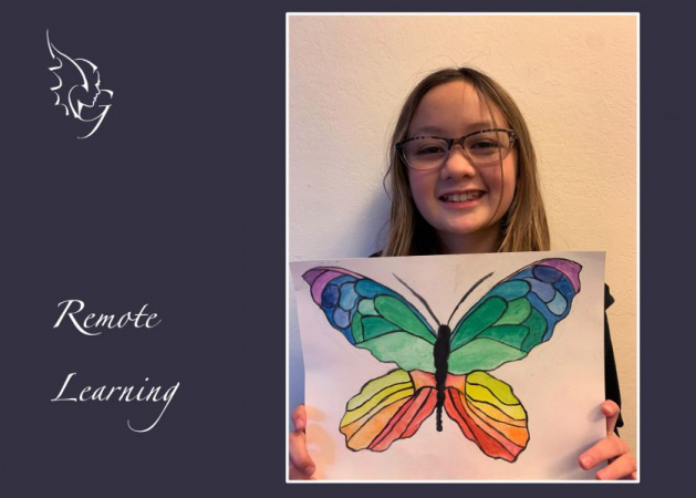 Rising artist June, with her exquisite butterfly painting. Art medium: Watercolors  photo courtesy: Christina Lee Ballantyne