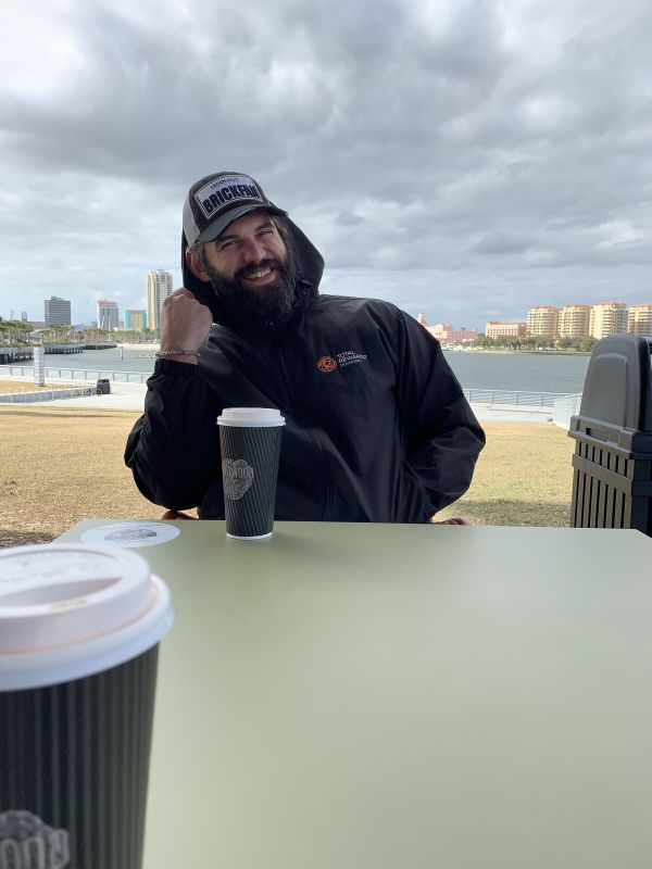 Leisurely windy day With a coffee by the bay