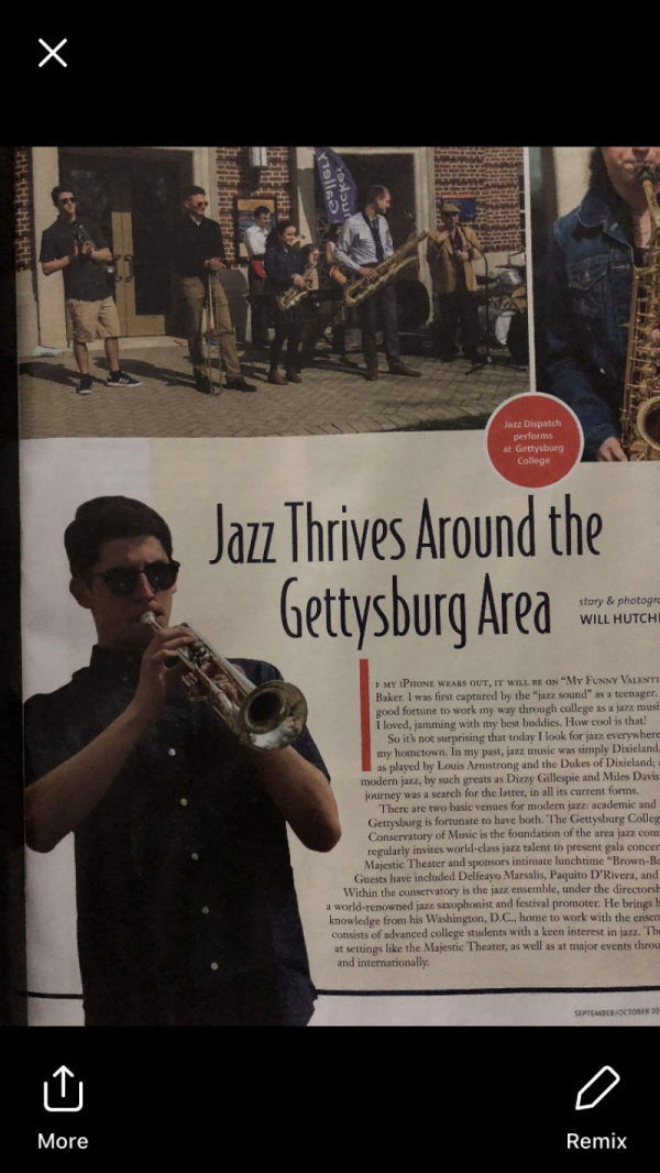 Newspaper clipping showcasing my jazz combo's contribution to the Gettysburg area's jazz culture.
