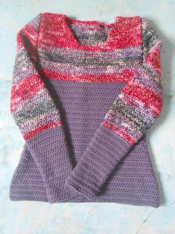 Another recent sweater project. This one had no written pattern, I just made it up.
