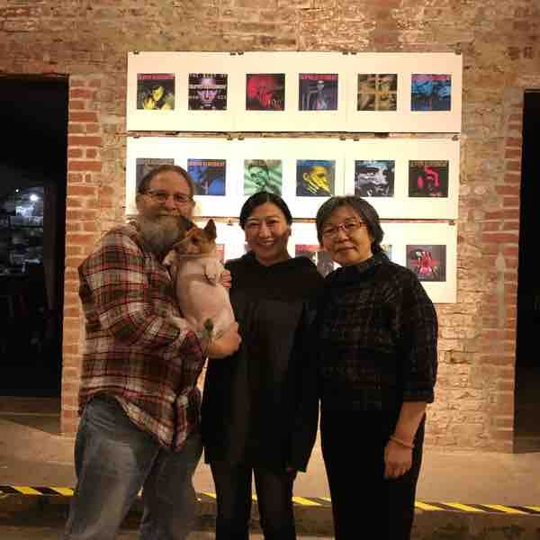 My wife Masumi and a gallery owner at her graphic design show in Manhattan.