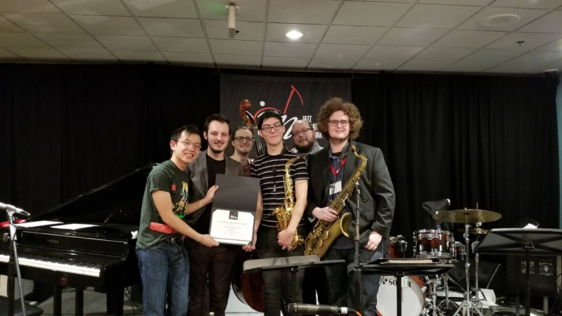 Receiving Jazz Education Award with my sextet at their 2019 conference in Reno, NV